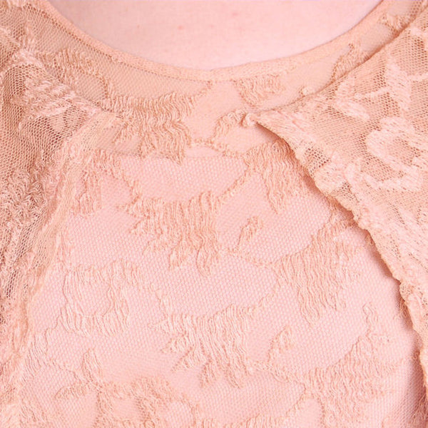 Vintage Dress Pale Peach Lace Garden Party Gown 1930's Small - The Best Vintage Clothing  - 6