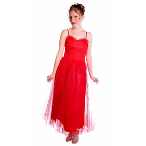Vintage Dress Red Tulle Strapless Prom Gown w/ Rosettes Size 2-4 1950s - The Best Vintage Clothing  - 1
