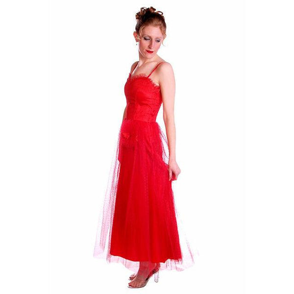 Vintage Dress Red Tulle Strapless Prom Gown w/ Rosettes Size 2-4 1950s - The Best Vintage Clothing  - 2
