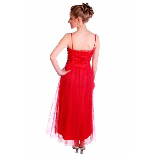 Vintage Dress Red Tulle Strapless Prom Gown w/ Rosettes Size 2-4 1950s - The Best Vintage Clothing  - 5