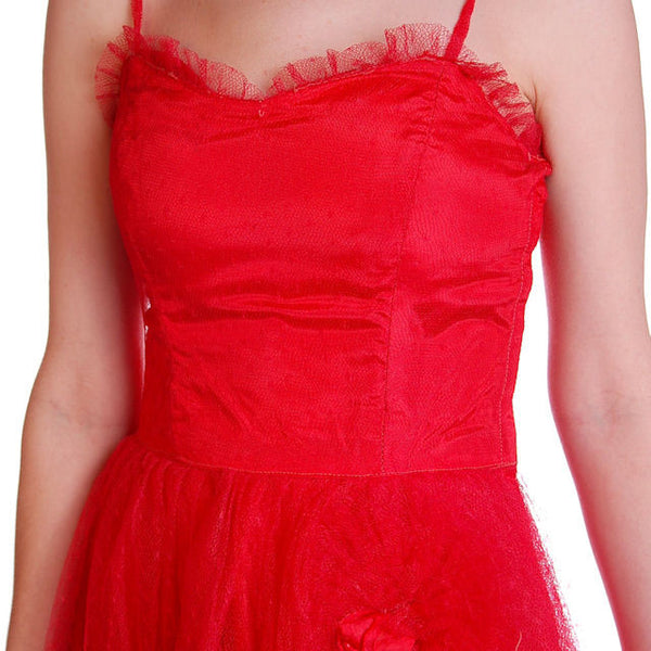 Vintage Dress Red Tulle Strapless Prom Gown w/ Rosettes Size 2-4 1950s - The Best Vintage Clothing  - 4