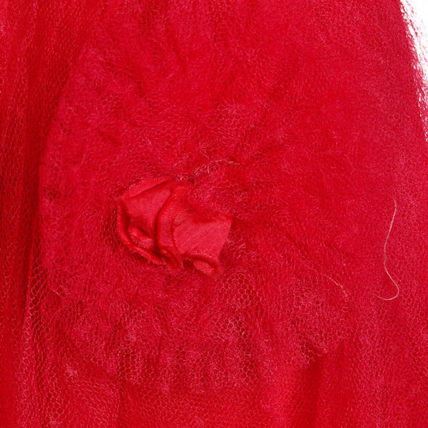 Vintage Dress Red Tulle Strapless Prom Gown w/ Rosettes Size 2-4 1950s - The Best Vintage Clothing  - 7