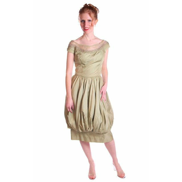 Pale Green Silk & Beads Vintage Bubble Dress 1950S - The Best Vintage Clothing  - 1