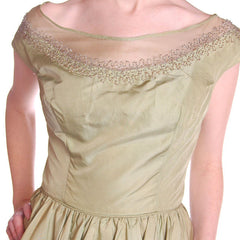 Pale Green Silk & Beads Vintage Bubble Dress 1950S - The Best Vintage Clothing  - 5
