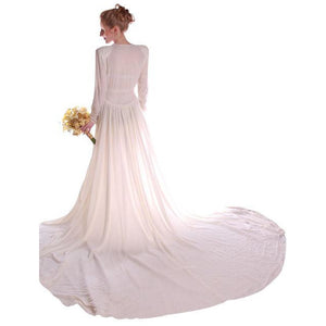 Stunning Vintage Winter White Silk Velvet Wedding Gown w/Train1940's Size Small - The Best Vintage Clothing  - 1
