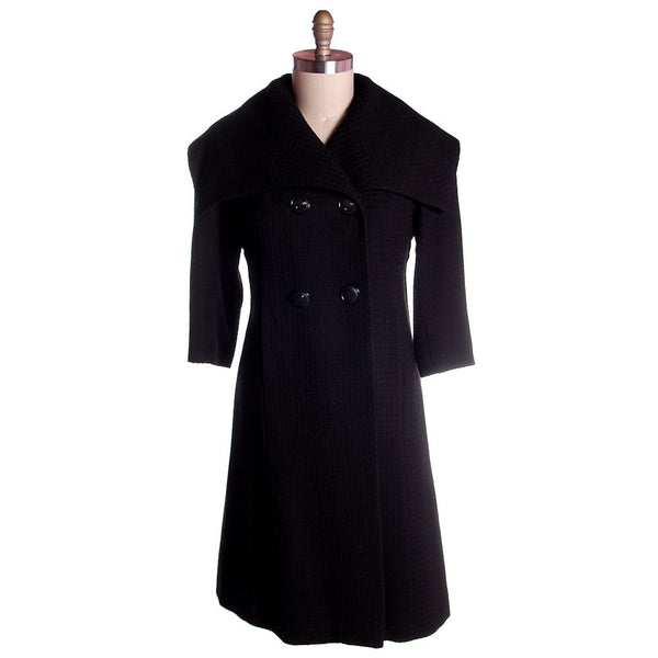 Vintage Black Textured Wool Swing Coat Huge Collar George Carmel Size M 1950s - The Best Vintage Clothing  - 1