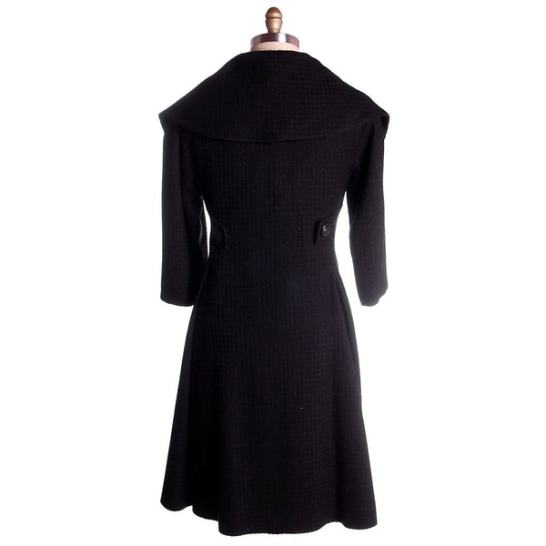 Vintage Black Textured Wool Swing Coat Huge Collar George Carmel Size M 1950s - The Best Vintage Clothing  - 3