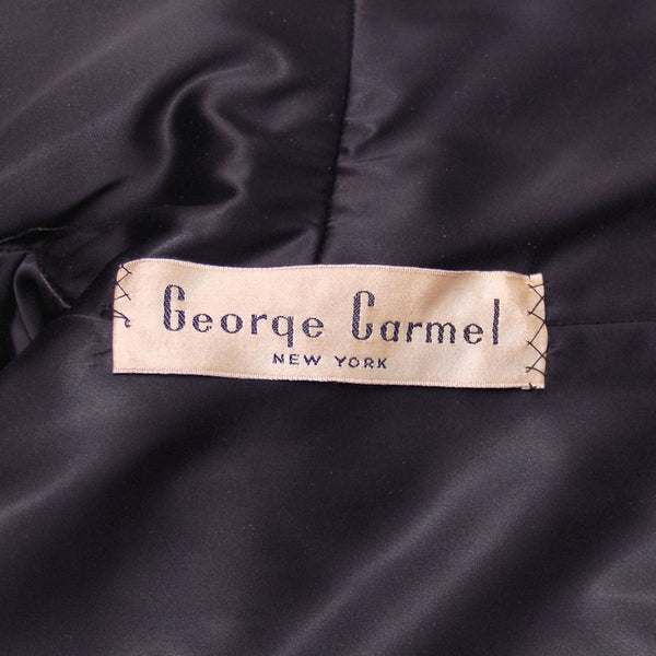 Vintage Black Textured Wool Swing Coat Huge Collar George Carmel Size M 1950s - The Best Vintage Clothing  - 9