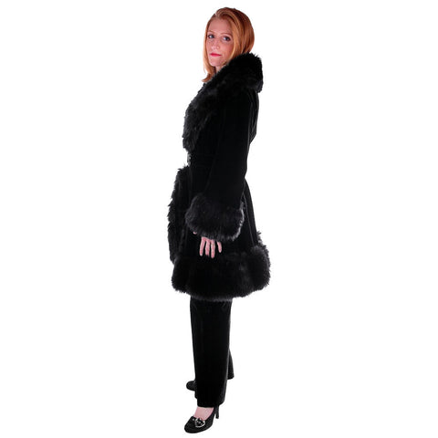 "Vintage Black Velvet Russian Style Faux Fur Trimmed  Coat/Pants 1970S 27"" Waist"