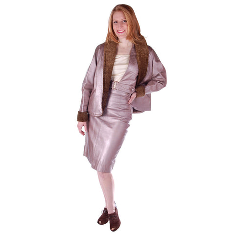 Vintage Mauve Metallic Leather Suit  Pencil Skirt 4 Pc 1950S 33-24-34