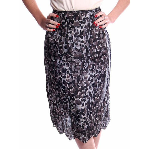 "Vintage Black/Gray Printed Silk Slip Laros 1950S 23"" Waist Pencil Skirt - The Best Vintage Clothing  - 1"
