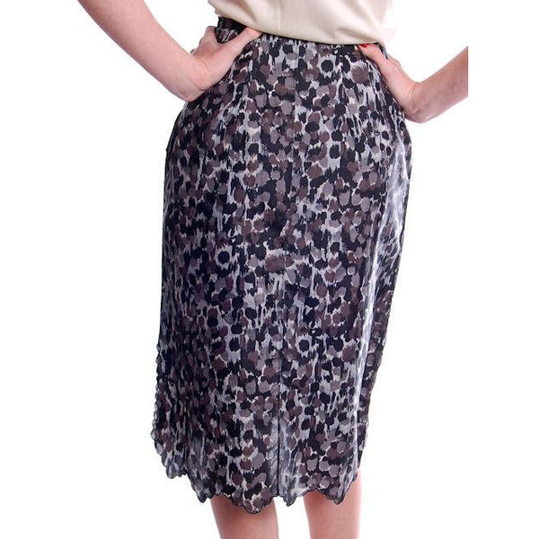 "Vintage Black/Gray Printed Silk Slip Laros 1950S 23"" Waist Pencil Skirt - The Best Vintage Clothing  - 3"