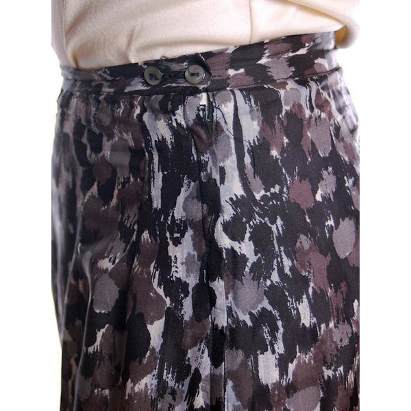 "Vintage Black/Gray Printed Silk Slip Laros 1950S 23"" Waist Pencil Skirt - The Best Vintage Clothing  - 2"