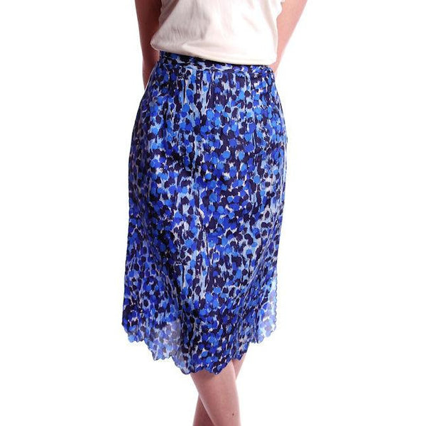 "Vintage Blue Printed Silk Slip Laros 1950S 23"" Waist Pencil Skirt - The Best Vintage Clothing  - 1"