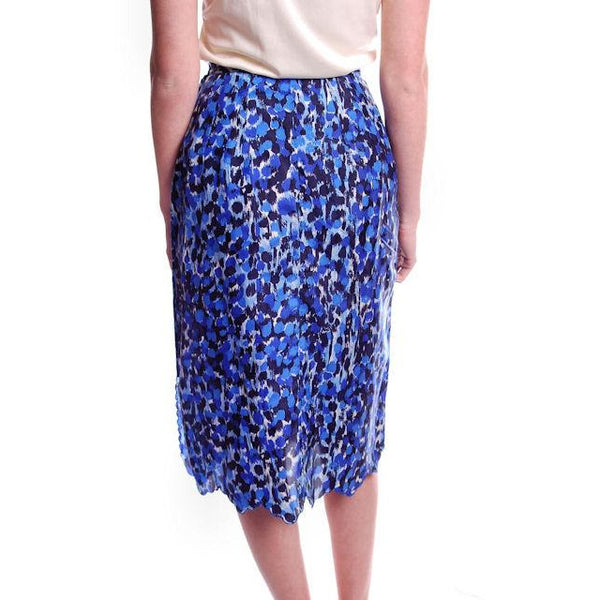 "Vintage Blue Printed Silk Slip Laros 1950S 23"" Waist Pencil Skirt - The Best Vintage Clothing  - 2"