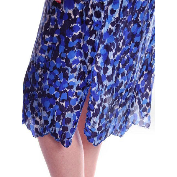 "Vintage Blue Printed Silk Slip Laros 1950S 23"" Waist Pencil Skirt - The Best Vintage Clothing  - 3"