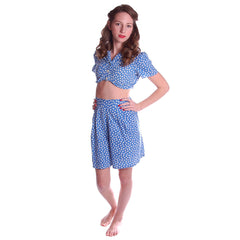 Vintage 2 Pc Blue Polka Dot Cotton  Shorts/CropTop 1940S Small - The Best Vintage Clothing  - 2