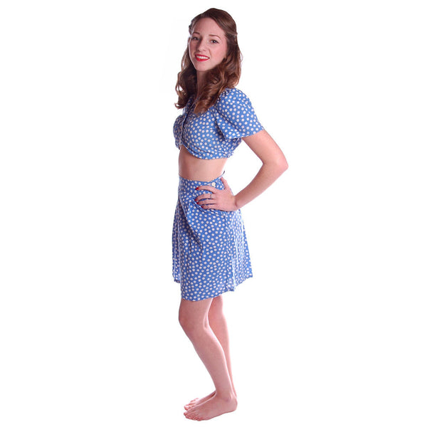 Vintage 2 Pc Blue Polka Dot Cotton  Shorts/CropTop 1940S Small - The Best Vintage Clothing  - 3