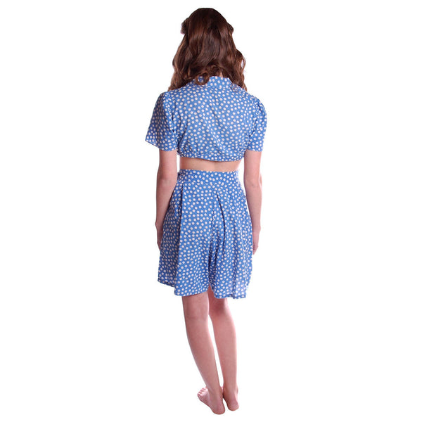 Vintage 2 Pc Blue Polka Dot Cotton  Shorts/CropTop 1940S Small - The Best Vintage Clothing  - 4