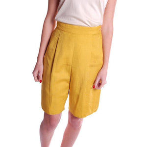 Vintage Tina Leser Yellow Silk Bermuda Shorts 1950S Small - The Best Vintage Clothing  - 1