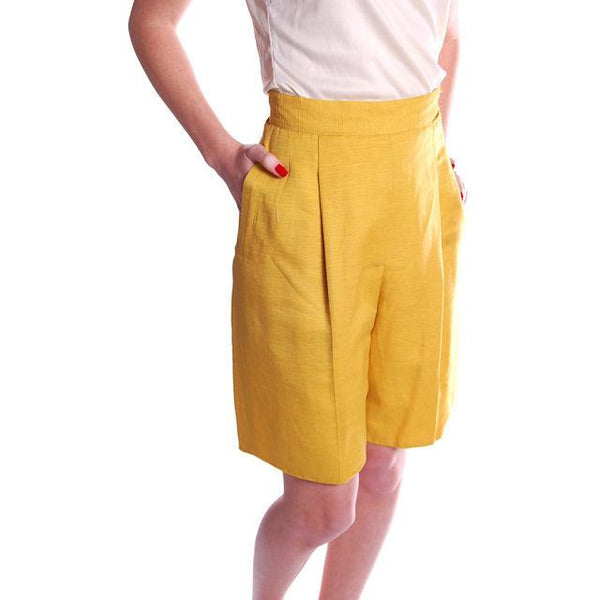 Vintage Tina Leser Yellow Silk Bermuda Shorts 1950S Small - The Best Vintage Clothing  - 2