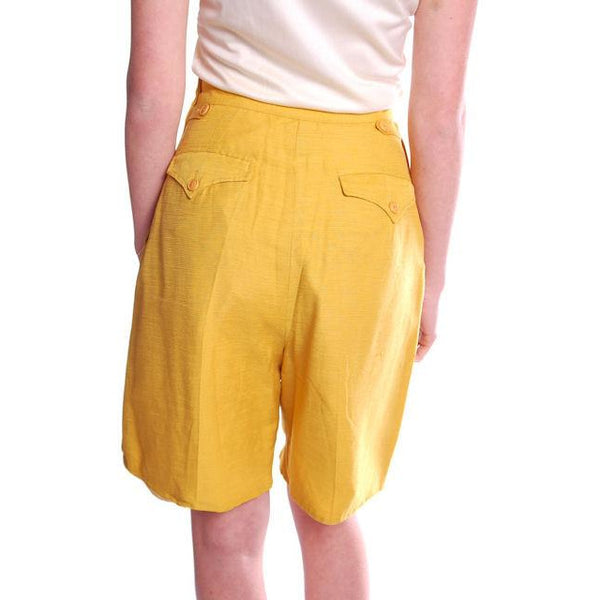 Vintage Tina Leser Yellow Silk Bermuda Shorts 1950S Small - The Best Vintage Clothing  - 3