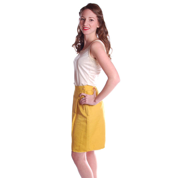 Vintage Tina Leser Yellow Silk Bermuda Shorts 1950S Small - The Best Vintage Clothing  - 4