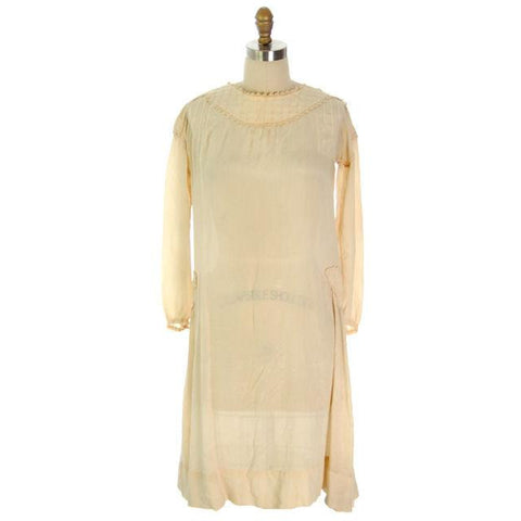 Vintage Girls/ Small Woman  Silk Ivory Dress 1920s  35-36-43