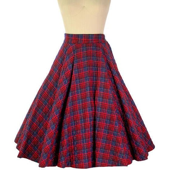 "Vintage Circle Skirt Quilted Red Navy Blue Plaid 1950s 24-27"" Waist Small - The Best Vintage Clothing  - 1"