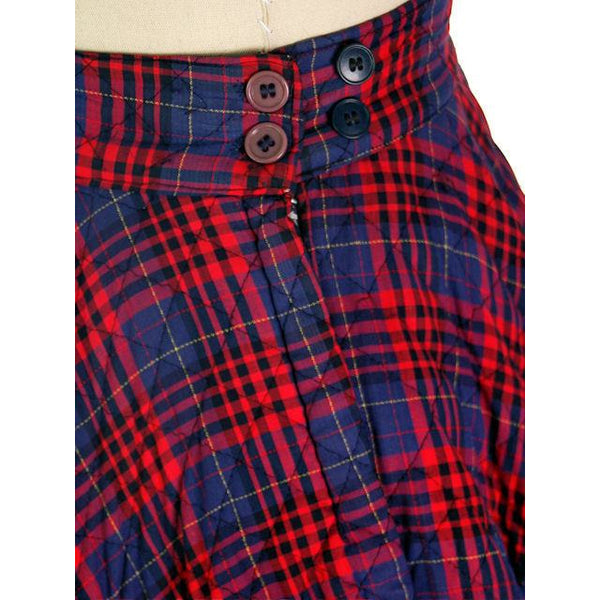 "Vintage Circle Skirt Quilted Red Navy Blue Plaid 1950s 24-27"" Waist Small - The Best Vintage Clothing  - 4"