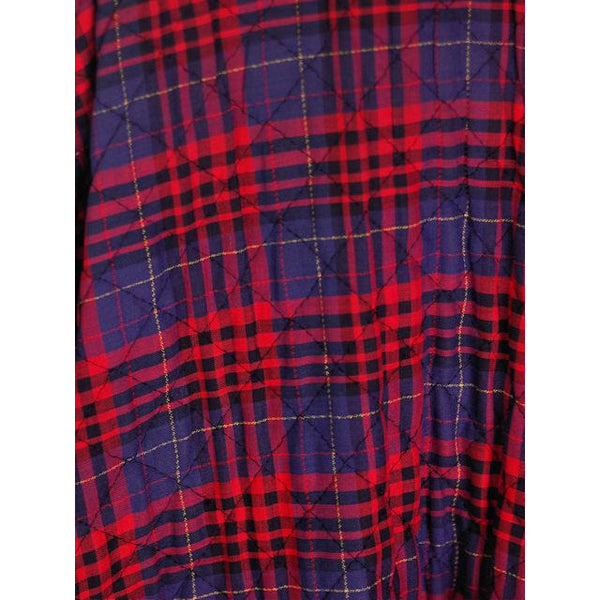 "Vintage Circle Skirt Quilted Red Navy Blue Plaid 1950s 24-27"" Waist Small - The Best Vintage Clothing  - 2"