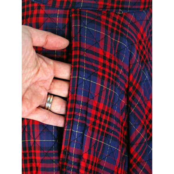 "Vintage Circle Skirt Quilted Red Navy Blue Plaid 1950s 24-27"" Waist Small - The Best Vintage Clothing  - 3"