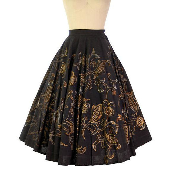 "Vintage Hand Painted Cotton Circle Skirt 1940s Mexico 24"" Waist Londy Of Mexico - The Best Vintage Clothing  - 1"