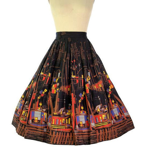 Vintage Border Print Skirt Cotton Colorful Cityscape 1950s Never Worn