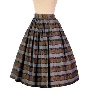 "Vintage Metallic Taffeta Skirt Copper/Steel/Gold 1950s Pleated 28"" Waist - The Best Vintage Clothing  - 1"