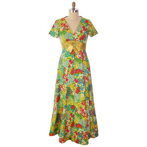 Vintage Polished Cotton Summer Maxi Gown Bright Florals Rona 1970s 38-32-42 - The Best Vintage Clothing  - 1