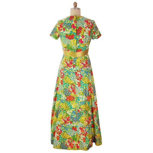 Vintage Polished Cotton Summer Maxi Gown Bright Florals Rona 1970s 38-32-42 - The Best Vintage Clothing  - 5