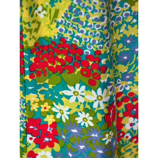 Vintage Polished Cotton Summer Maxi Gown Bright Florals Rona 1970s 38-32-42 - The Best Vintage Clothing  - 6