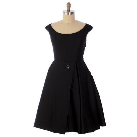 Vintage James Galanos Cocktail Dress Black Full Skirt Late 1950s 38-31-Free