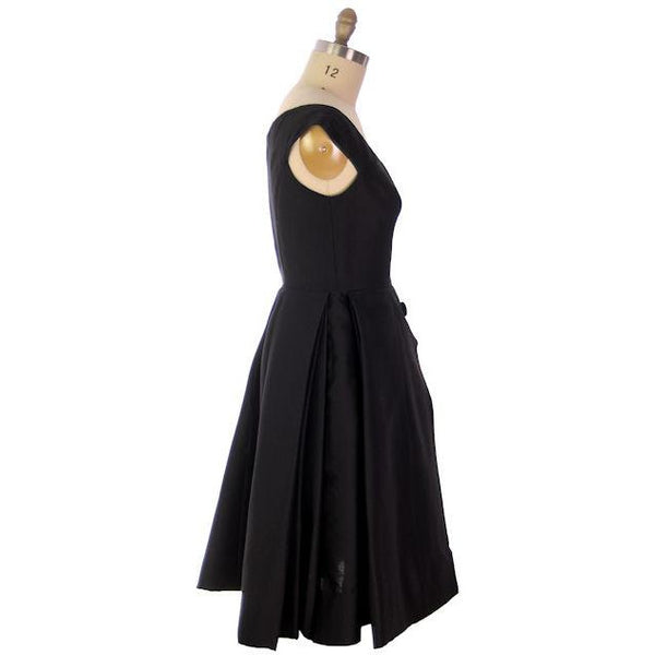 Vintage James Galanos Cocktail Dress Black Full Skirt Late 1950s 38-31-Free - The Best Vintage Clothing  - 3
