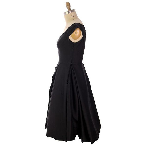 Vintage James Galanos Cocktail Dress Black Full Skirt Late 1950s 38-31-Free - The Best Vintage Clothing  - 4