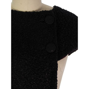 Vintage Black Faux Karakul Curly Lamb Over Collar 1940s - The Best Vintage Clothing  - 1