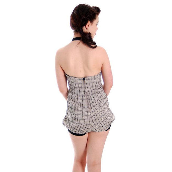 Vintage Swim Suit 1 PC Ladies Black Windowpane Bubble Bottom Sea Nymph 1940s 36 - The Best Vintage Clothing  - 4