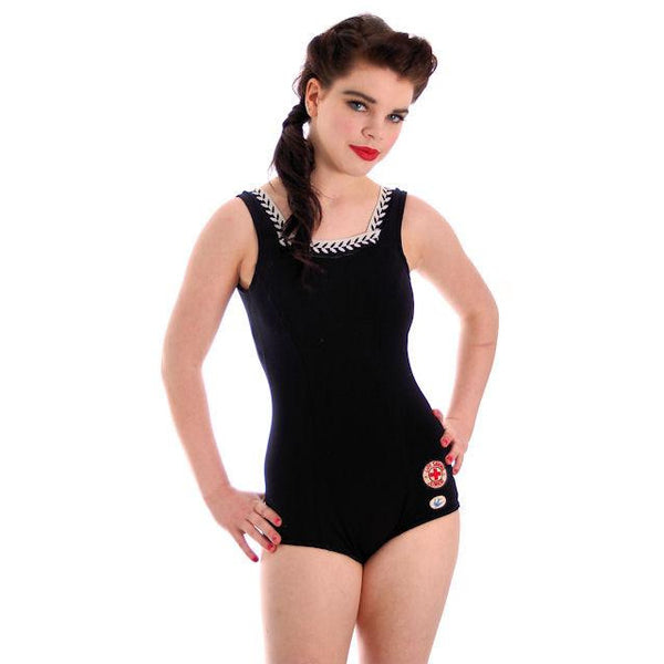 Vintage Teen Size  Swim Suit Blue Bird Nylon Knit 1950s Small - The Best Vintage Clothing  - 1