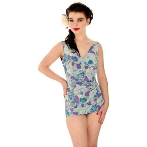 Vintage Ladies 1 PC Swim Suit Floral Patterned Bullet Bra 1950s Roxanne Med - The Best Vintage Clothing  - 1