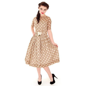 Vintage Taupe Cotton Polka Dot Dress Sheer Overlay 1950s 32-25-Free - The Best Vintage Clothing  - 1