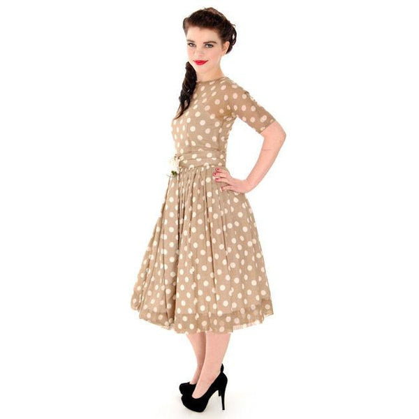 Vintage Taupe Cotton Polka Dot Dress Sheer Overlay 1950s 32-25-Free - The Best Vintage Clothing  - 2