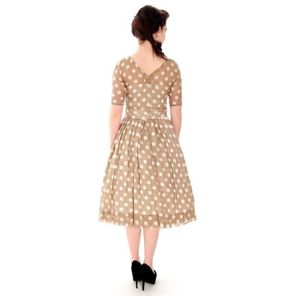 Vintage Taupe Cotton Polka Dot Dress Sheer Overlay 1950s 32-25-Free - The Best Vintage Clothing  - 3