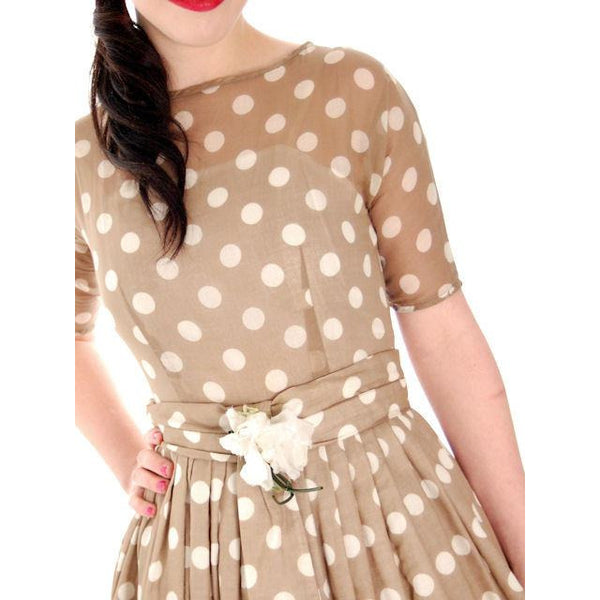Vintage Taupe Cotton Polka Dot Dress Sheer Overlay 1950s 32-25-Free - The Best Vintage Clothing  - 4