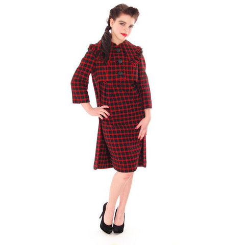 Vintage Galanos Sheath Dress/ Unique Coat Red/Green Wool Plaid Early 1960s  Small
